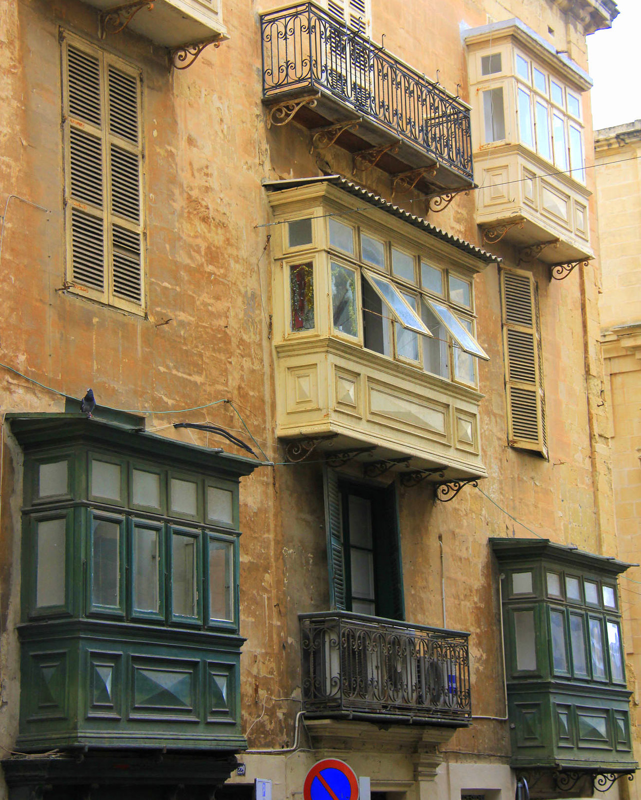 Valletta has famous wooden box windows