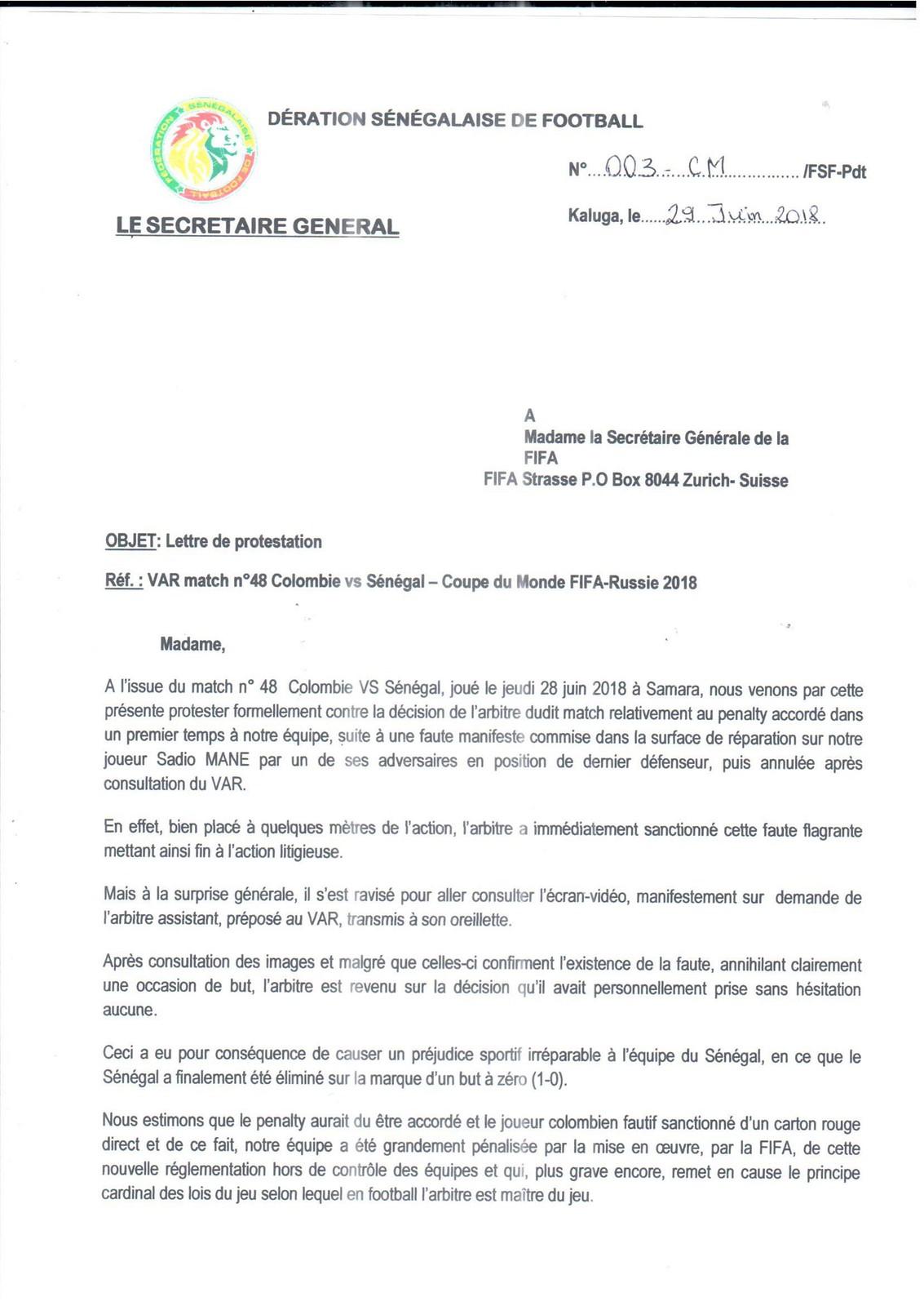 Lettre de Réclamation de la FSF à la FIFA (2)