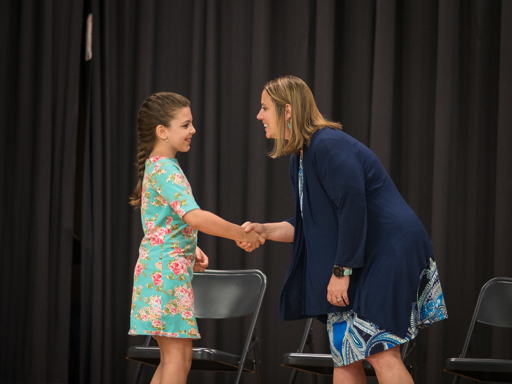 Shaking hands with the principal