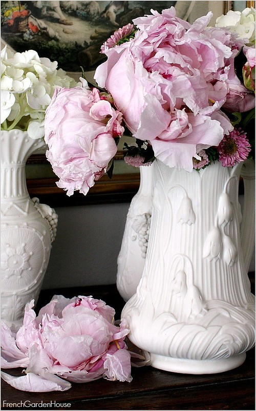 Antque-Pink-Peony-On-Mantel-carved-wood-French-Chateau