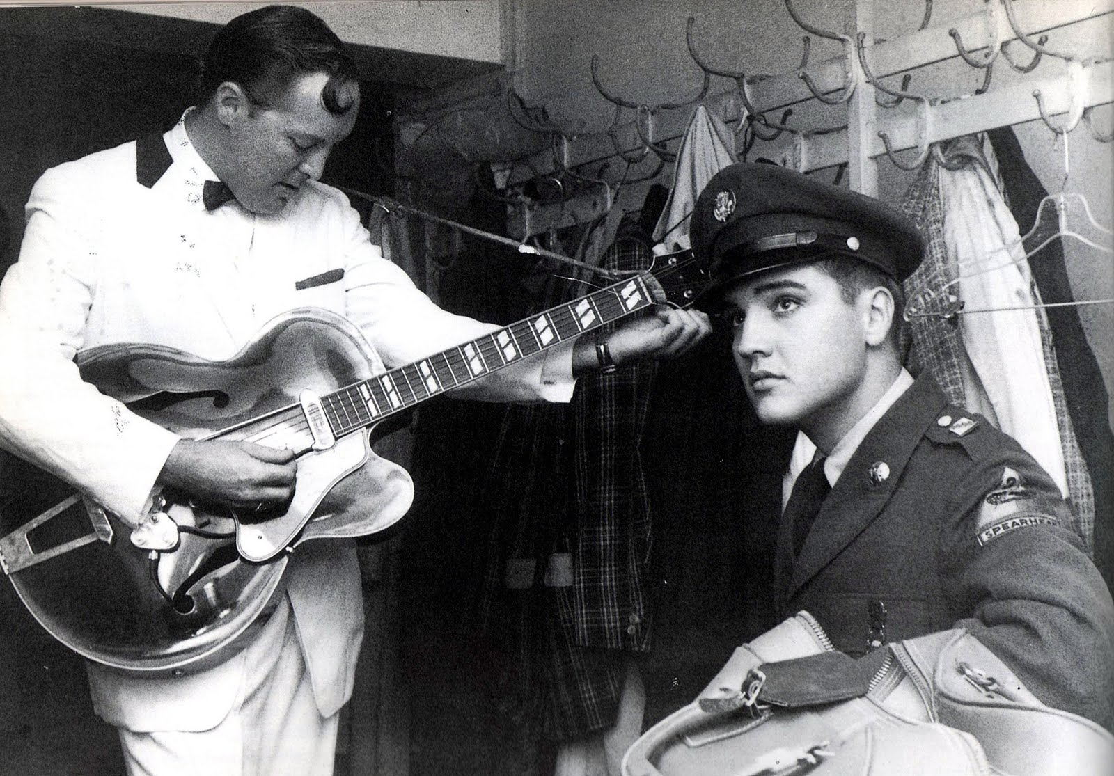 Bill Haley and Elvis Presley backstage in Germany, 1957