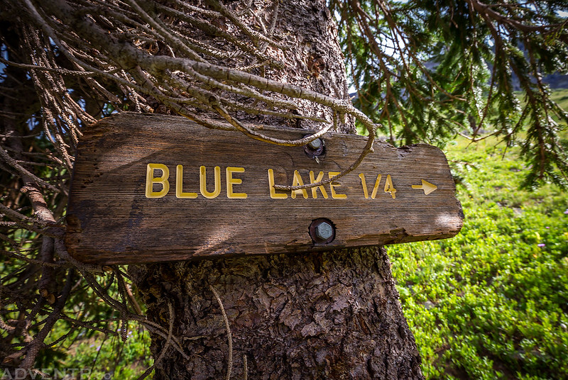 Hidden Blue Lake Sign