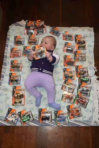 Baby Charlotte discovered cool stash of Matchbox toys 1 July 2018