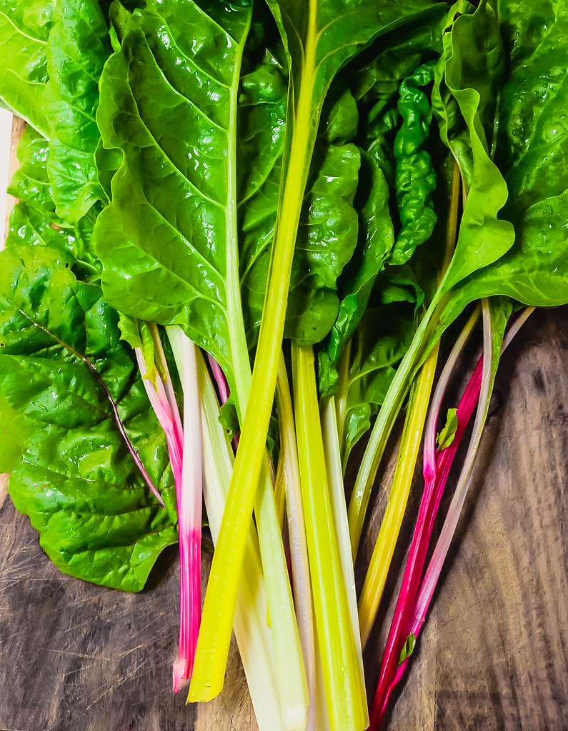 Beautiful stems of rainbow chard, perfectly easy to cook up in any recipe, such as a simple pasta.