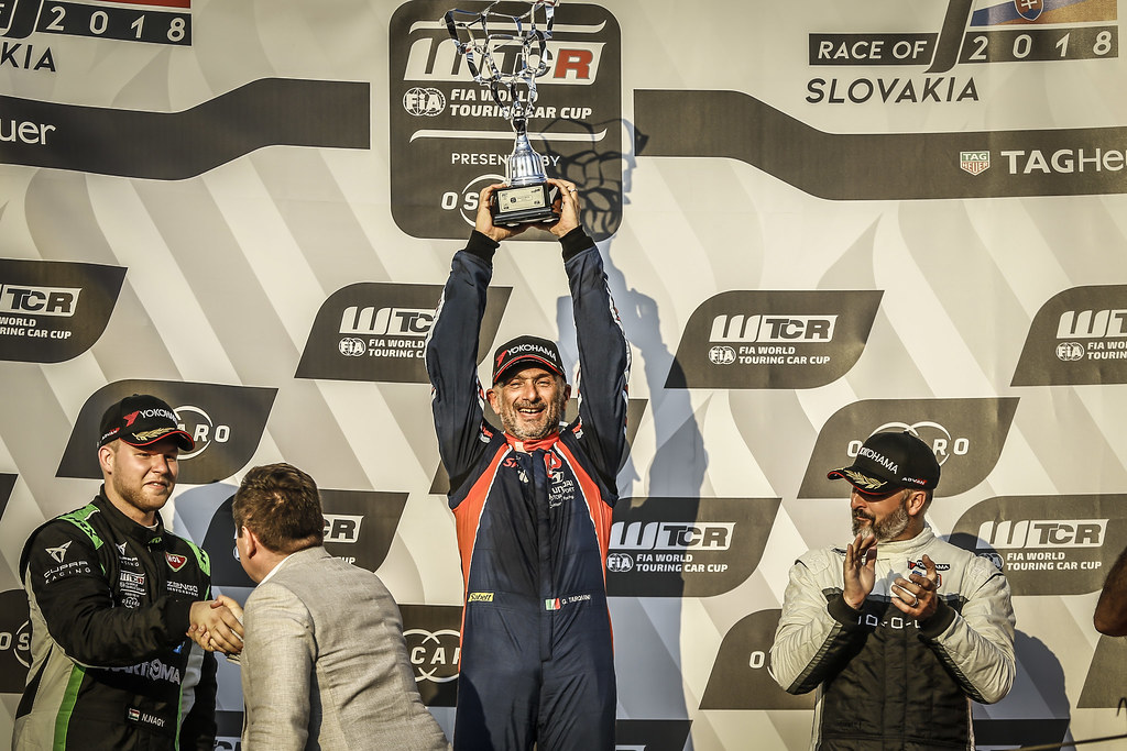 NAGY Norbert, (hun), Seat Cupra TCR team Zengo Motorsport, portrait, TARQUINI Gabriele, (ita), Hyundai i30 N TCR team BRC Racing, portrait, MULLER Yvan, (fra), Hyundai i30 N TCR team Yvan Muller Racing, portrait podium race 2 during the 2018 FIA WTCR World Touring Car cup race of Slovakia at Slovakia Ring, from july 13 to 15 - Photo Jean Michel Le Meur / DPPI