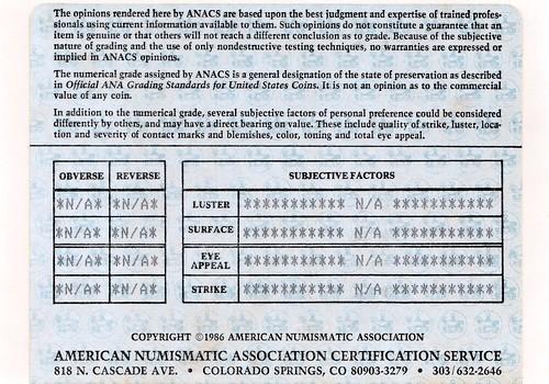 ANACS certificate back