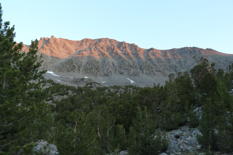 Alpenglow at dawn on Cloudripper from our campsite at Seventh Lake