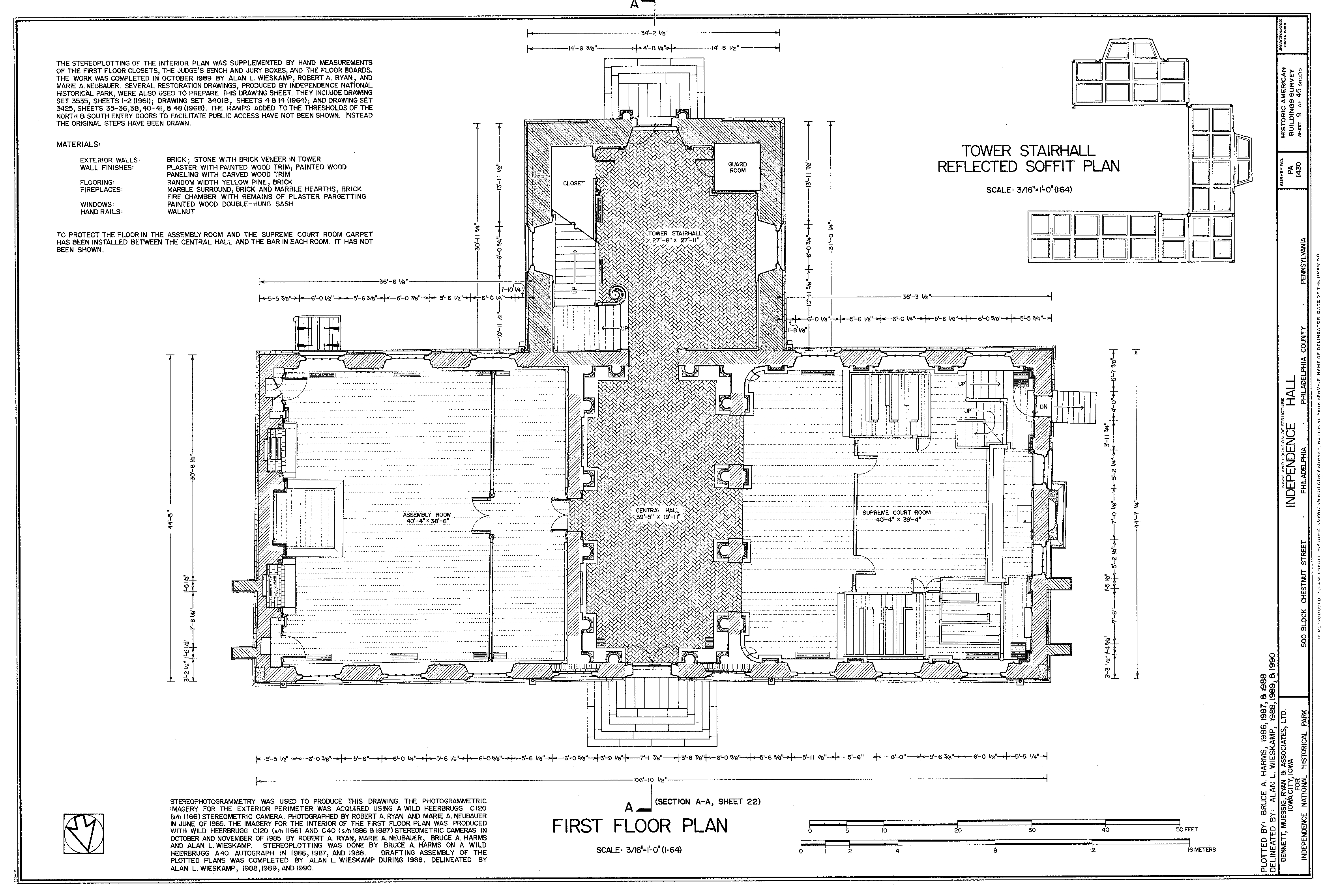 Historic American Buildings Survey (HABS) measured drawing of the first floor of Independence Hall in Philadelphia, 1987-1989.