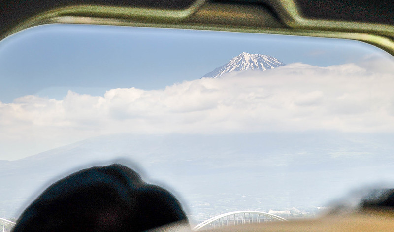 Mount Fuji in bullet train window Japan