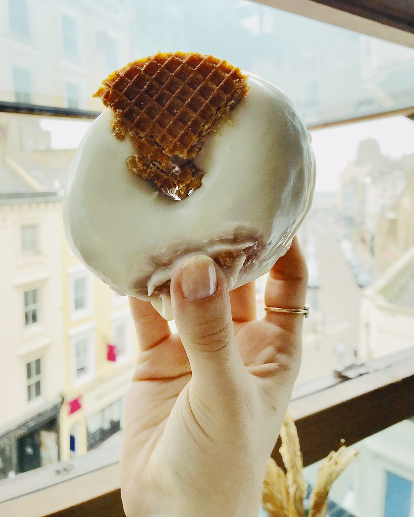 vegan maple waffle donut