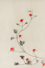 Small Red Blossoms on a Vine by Katsushika Hokusai published between 1830 and 1850, an illustration of small red blossoms on a vine isolated. Digitally enhanced from our own original edition.