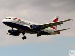 British Airways A319-131 G-EUPK landing at LHR/EGLL
