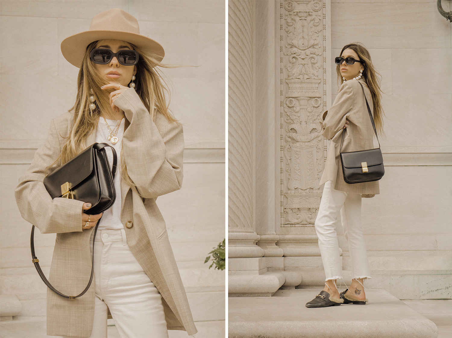 neutral_outfit_look_street_style_oversized_jacket_loafers_white_jeans_lack_of _color_celin_bag_pearl_earrings_lena_juice_the_white_ocean_03