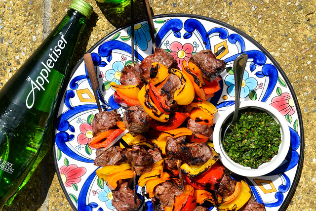 Summer Barbecue Steak Skewers with Chimichurri Sauce #barbecue #grilling #steak #skewers #kabobs #chimichurri