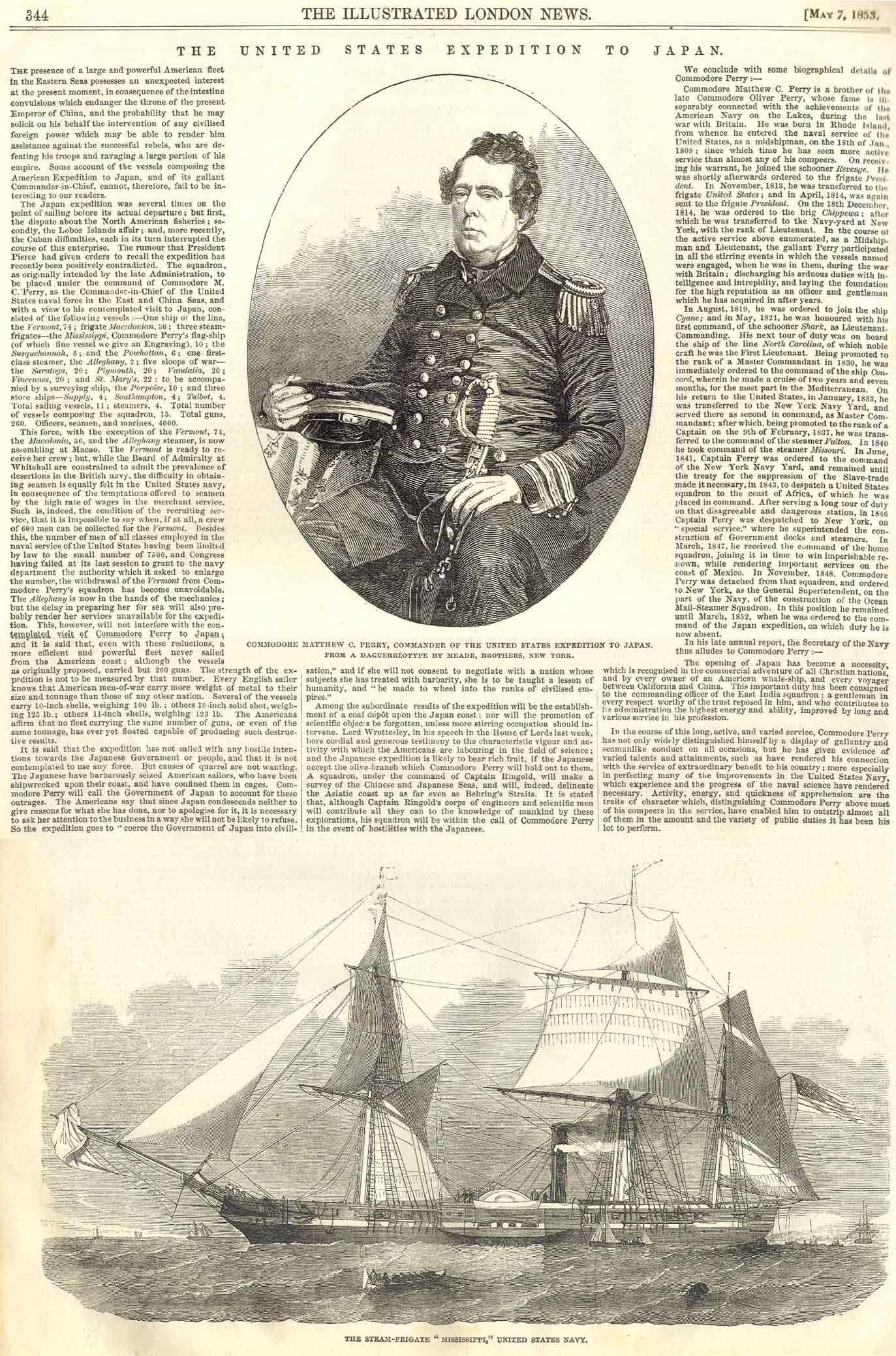 Article about Perry's first expedition to Japan published in the Illustrated London News, May 7, 1853.