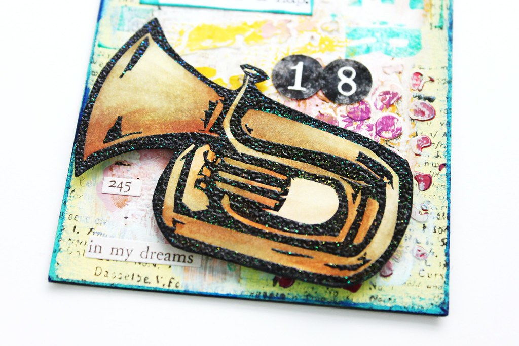 Meihsia Liu Simply Paper Crafts Mixed Media Tag Summer Fun Music Instrument Simon Says Stamp Tim Holtz 4