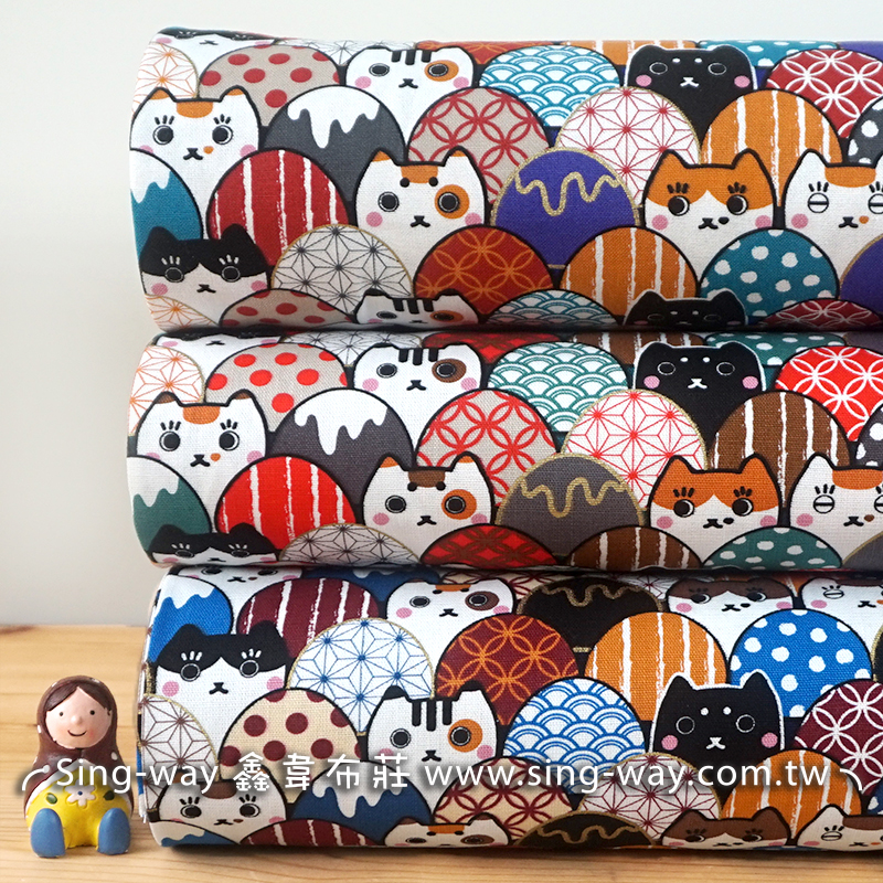 燙金雞蛋貓 (大特價) 雞蛋圖案 彩蛋 多色彩蛋 俏皮小貓咪 貓咪 密集圖案 手工藝DIy拼布布料 CF550675
