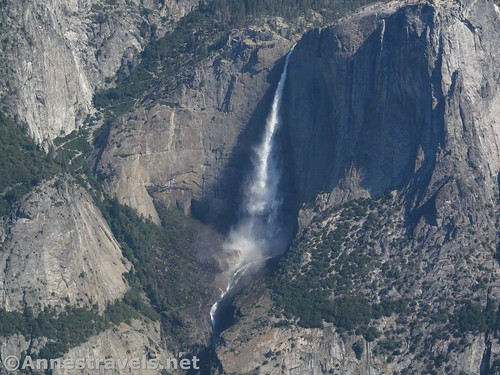 Close up of Upper Yosemite Falls. It's not as full as it would be in May, but there was still water in early July. Sentinel Dome in Yosemite National Park, California