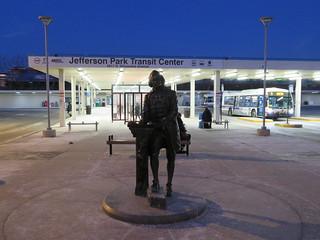 Jefferson Park Transit Center at Night