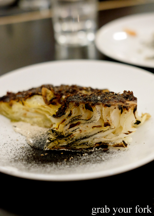 Sugar loaf cabbage with sesame and sesame sambal at Ester in Chippendale, Sydney