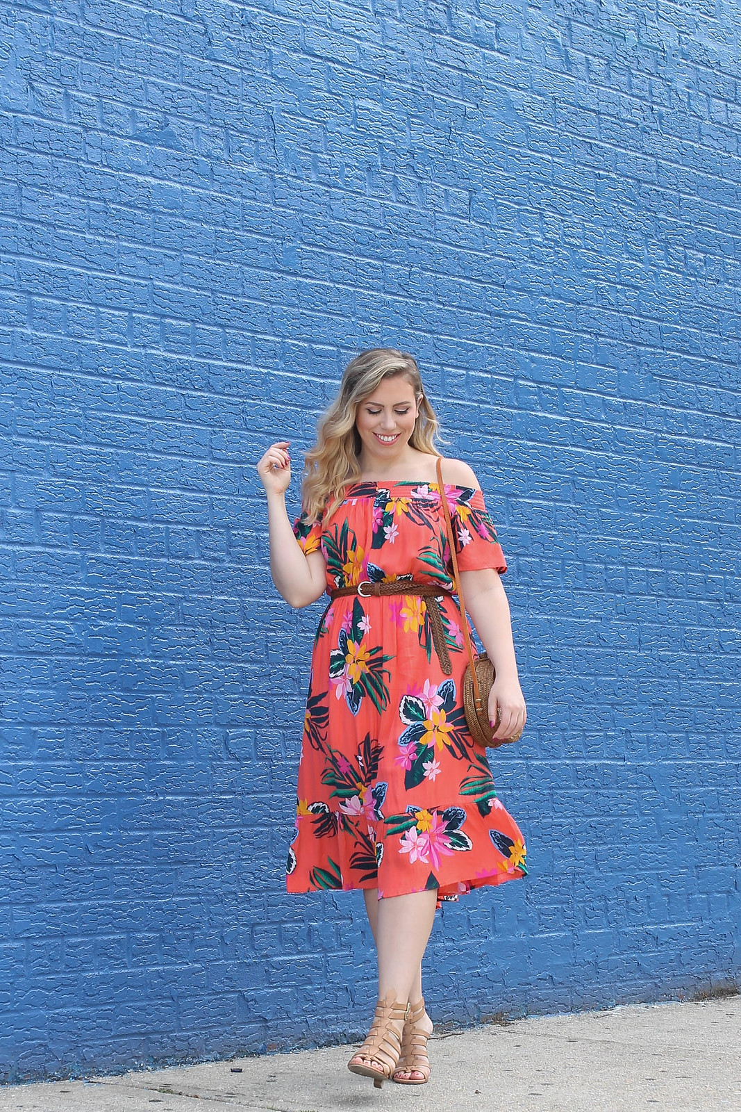 Old Navy Waist Defined Off the Shoulder Crinkle Gauze Midi Dress Red Coral Floral Print Summer Outfit Inspiration