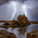 20. Juuli 2018 - 23:20 - ''M' is for Miracle:' I have always said that the saying about no two snowflakes being alike is very true also for lightning bolts. In this capture, I saw what looked like the letter M hovering behind the boulders at Watson Lake. I like to think of it as an image I can one day show my baby daughter, whose name is Mira (short for Miracle) and instill in her the sense that every now and then, nature reminds us that there really are miracles in our world, if only we can see them.