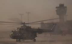 Russian Search and Rescue teams deploy by helicopter from Karaganda Ka