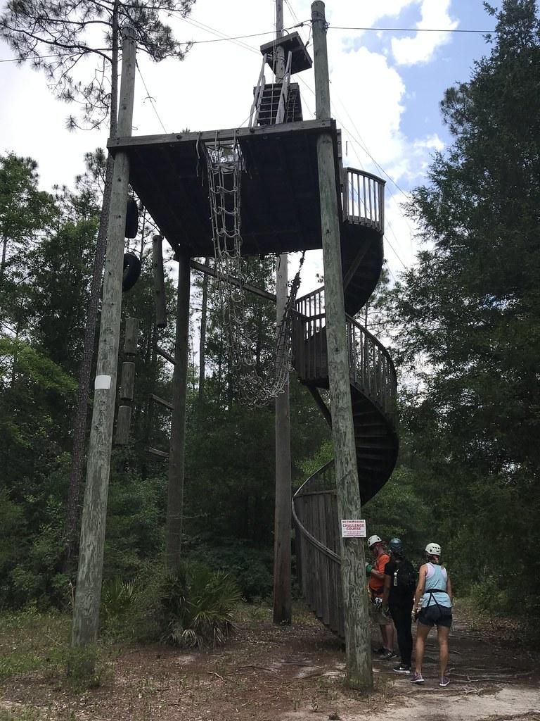 Zipline Tower - Adventures Unlimited Outdoor Center in Milton, Santa Rosa County, Fla., May 2018.