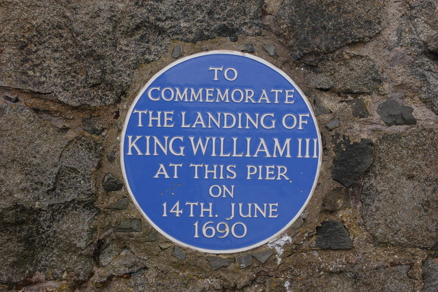 Plaque in Carrickfergus harbor marking the landing of William of Orange.