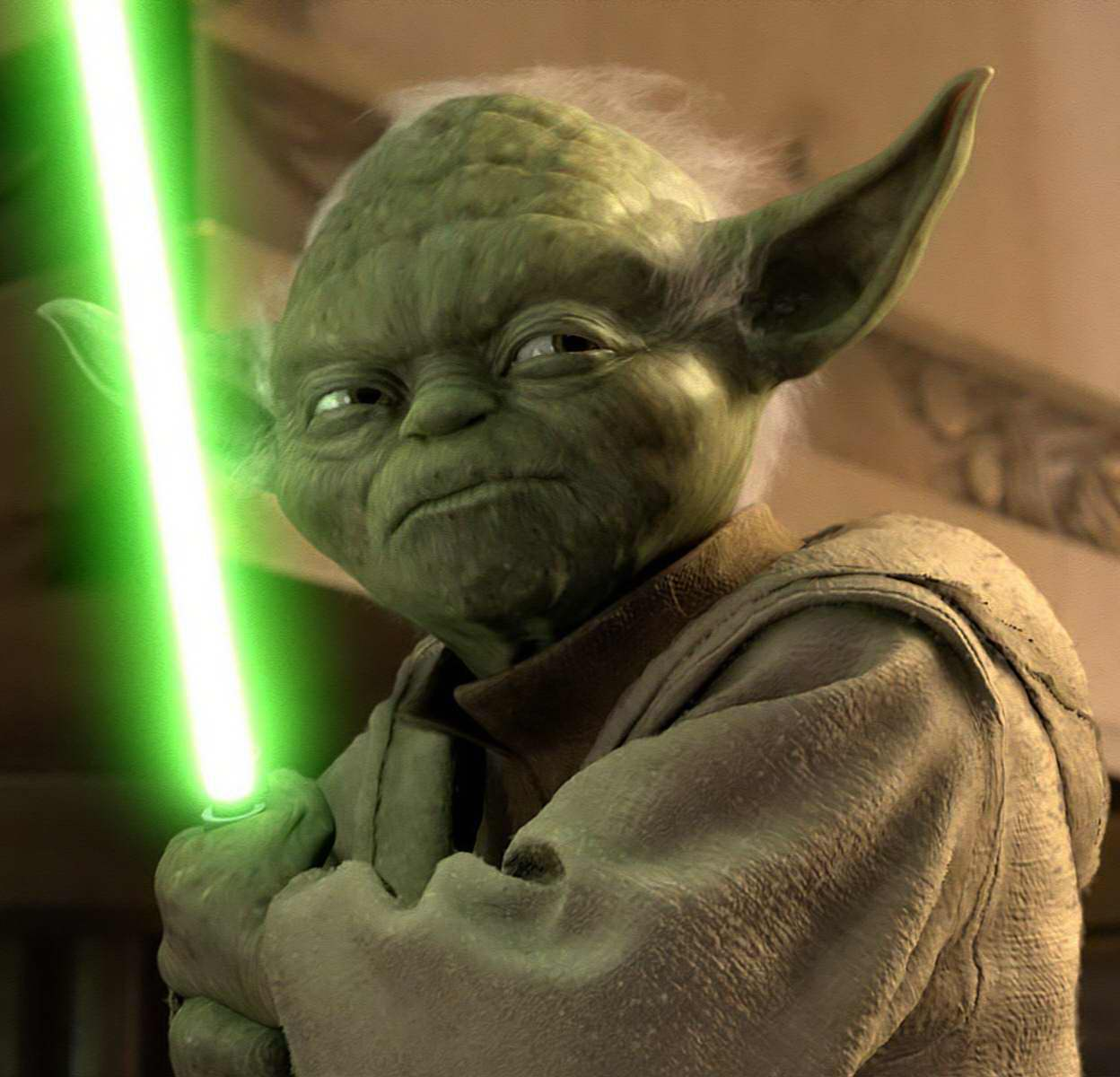 Yoda's CGI appearance in Attack of the Clones (2002)