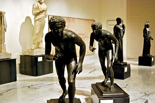 Twin bronze runners at Archeological Museum, Naples, Italy