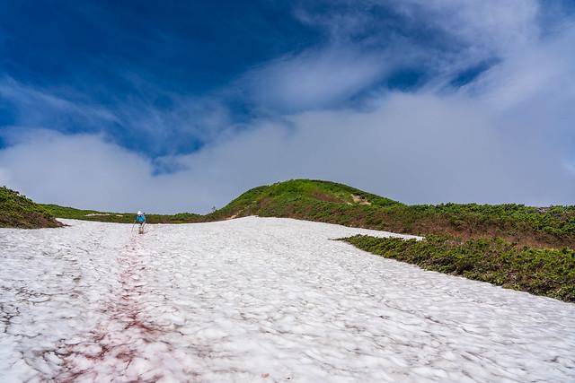 丸山ケルン手前の雪渓