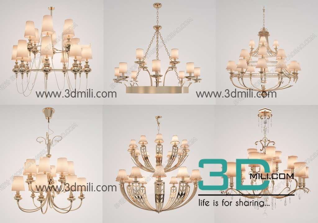 The Collection Of Classic Ceiling Lights Part 1 3ds