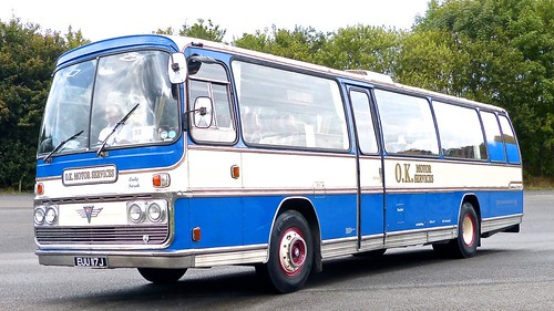 EUU 117J 'OK Motor Services'. AEC Reliance /  Plaxton Elite II on Dennis Basford's railsroadsrunways.blogspot.co.uk'