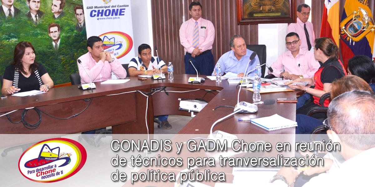 CONADIS y GADM Chone en reunión de técnicos para tranversalización de política pública