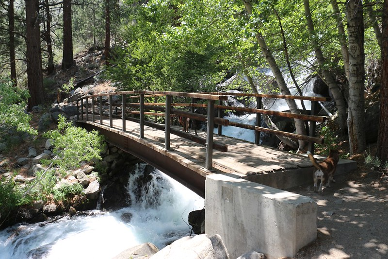 Steel bridge over the North Fork Big Pine Creek at First Falls