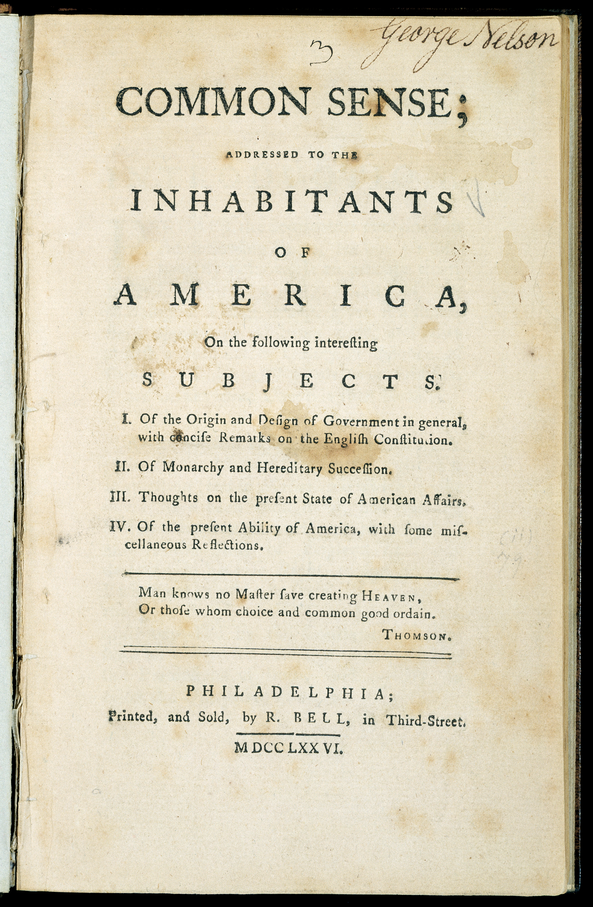 Cover of the first edition of Thomas Paine's 1776 pamphlet, Common Sense.