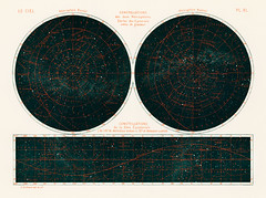 Constellations of the Two Hemispheres (1877) from the book by Guillemin, Amédée, (1826-1893), a celestial chart of the two hemispheres in the night sky. Digitally enhanced from our own original chromolithograph.