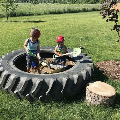 "Two of my grandsons having fun in their ""sandbox"""