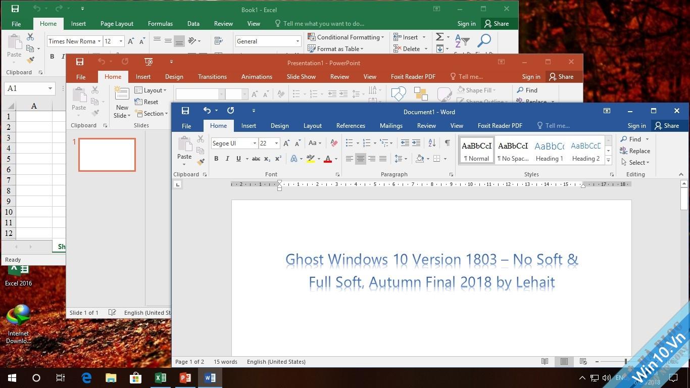 Ghost Win 10 Verison 1803 – No Soft & Full Soft, Autumn Final 2018 by Lehait 24