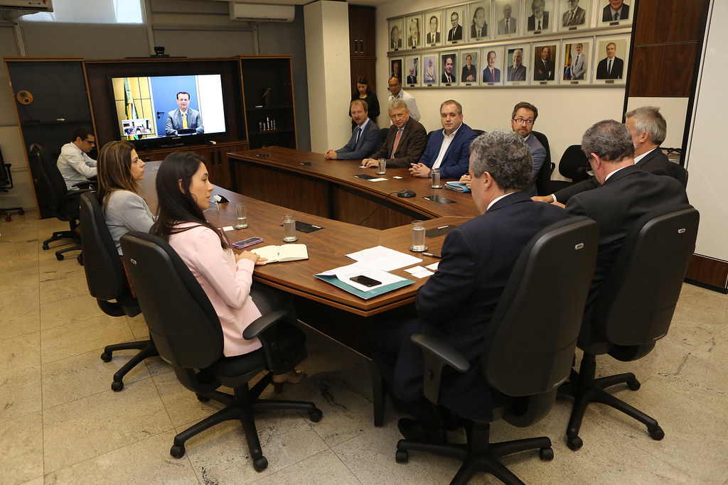 Videoconferência com diretores do grupo bancário KfW. 28 de junho de 2018. Fotos: Ricardo Fonseca