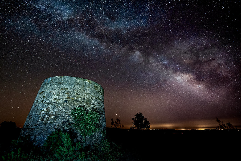 Milky Way Above An Abandoned Windmill In the Algarve Hills