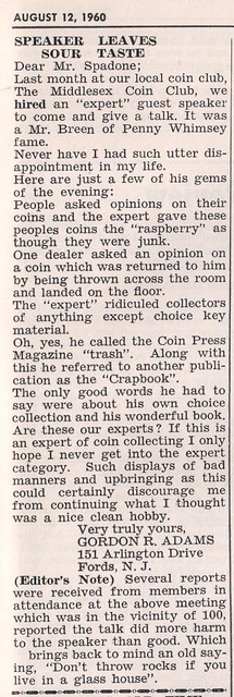 Breen Incident - The Coin Press 8-12-60