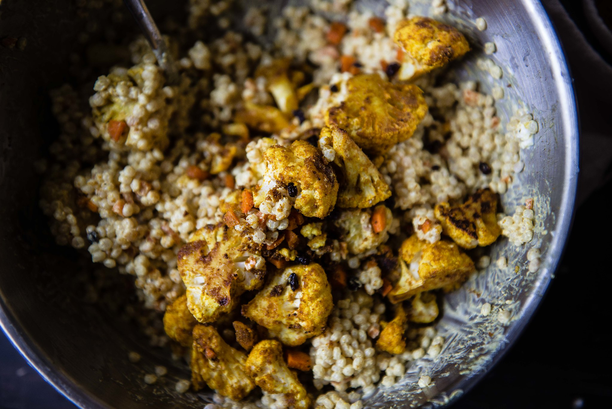 curried couscous with roasted cauliflower
