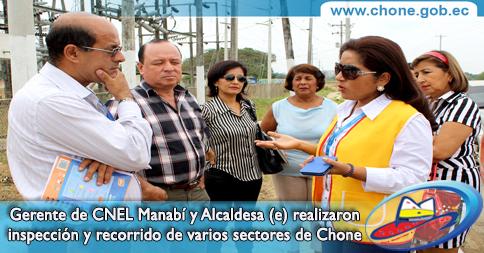 Gerente de CNEL Manabí y Alcaldesa (e) realizaron inspección y recorrido de varios sectores de Chone
