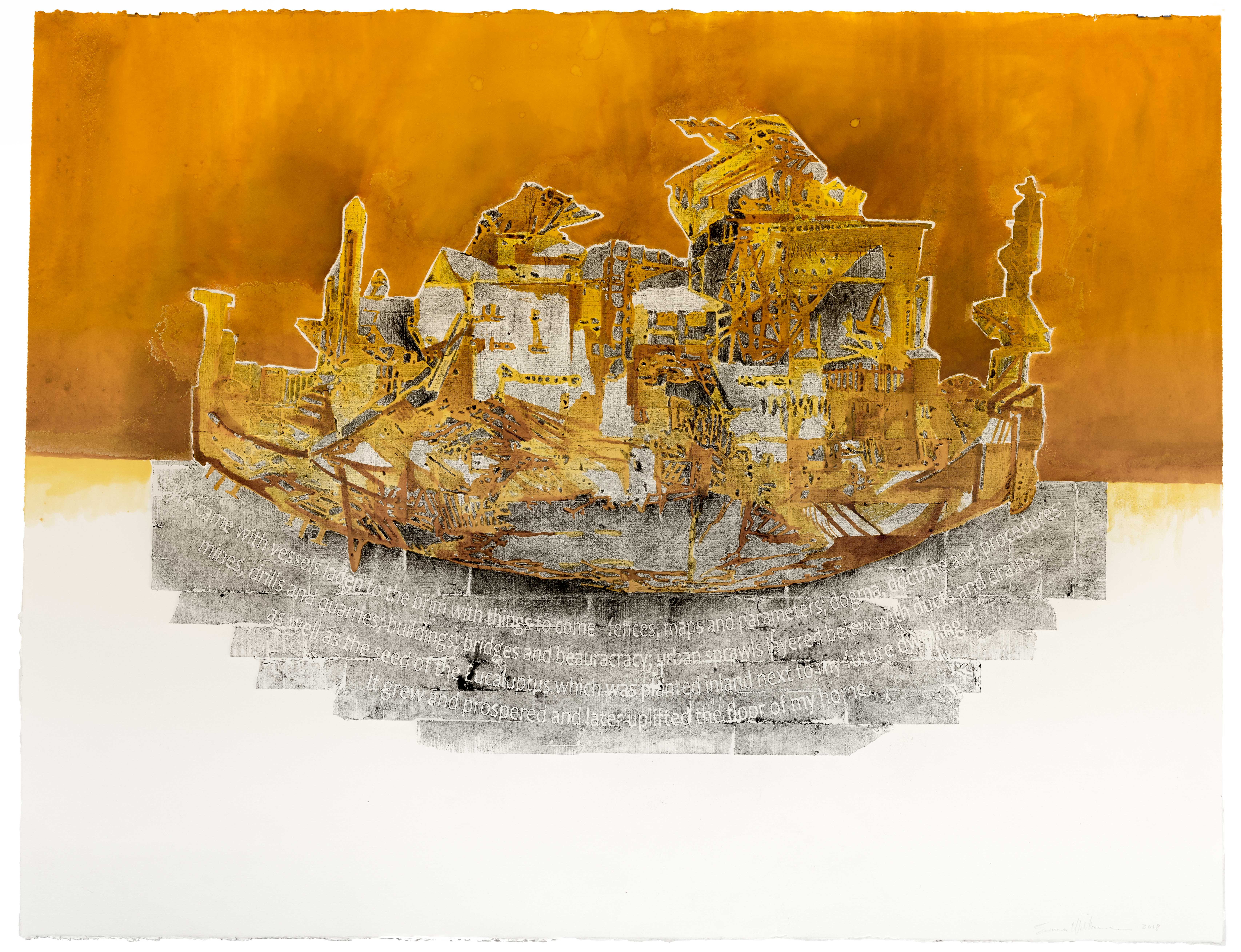 Vessels laden to the brim _ 1020x820mm _ Collagaph, hand coloured with ochre pigment on Fabriano Rosapina