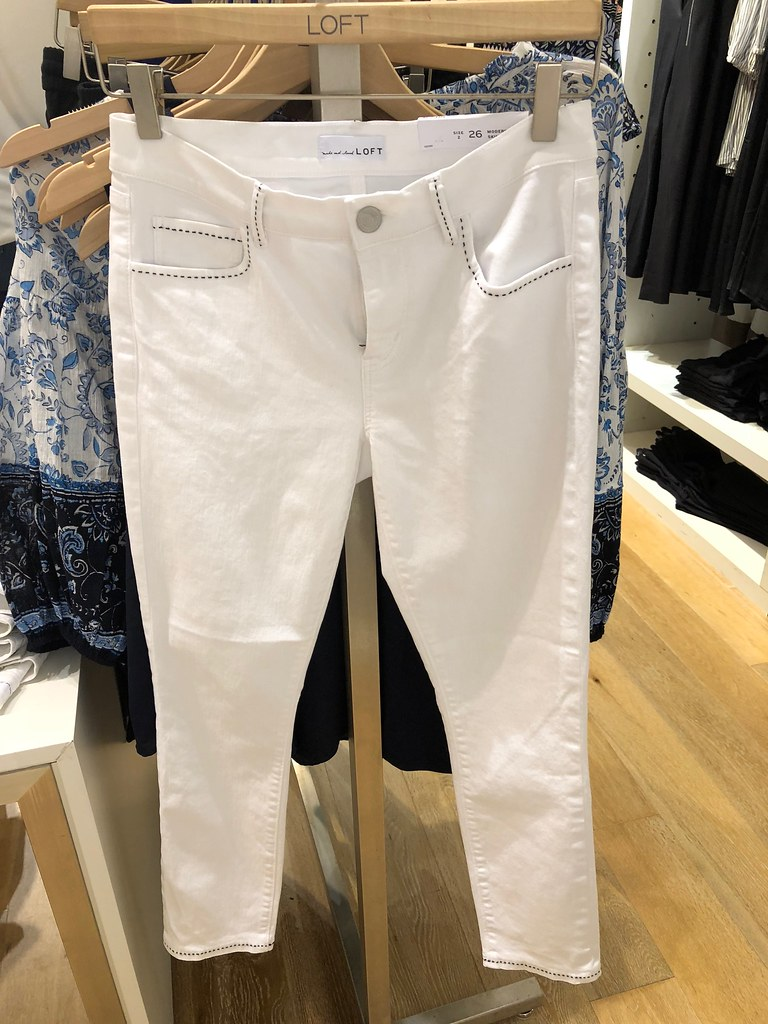 LOFT Stitched Skinny Crop Jeans in white