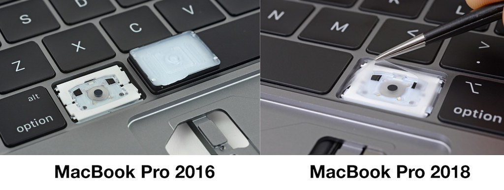 MacBook Pro 2016 and 2018 keyboard diff