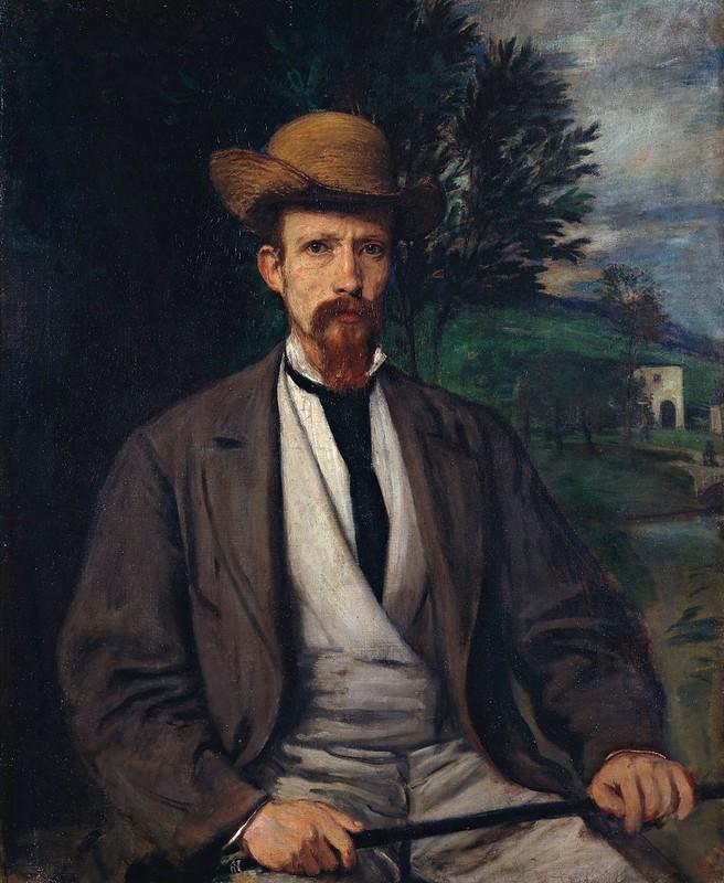 Hans von Marées - Selbstbildnis mit gelbem Hut (1874)