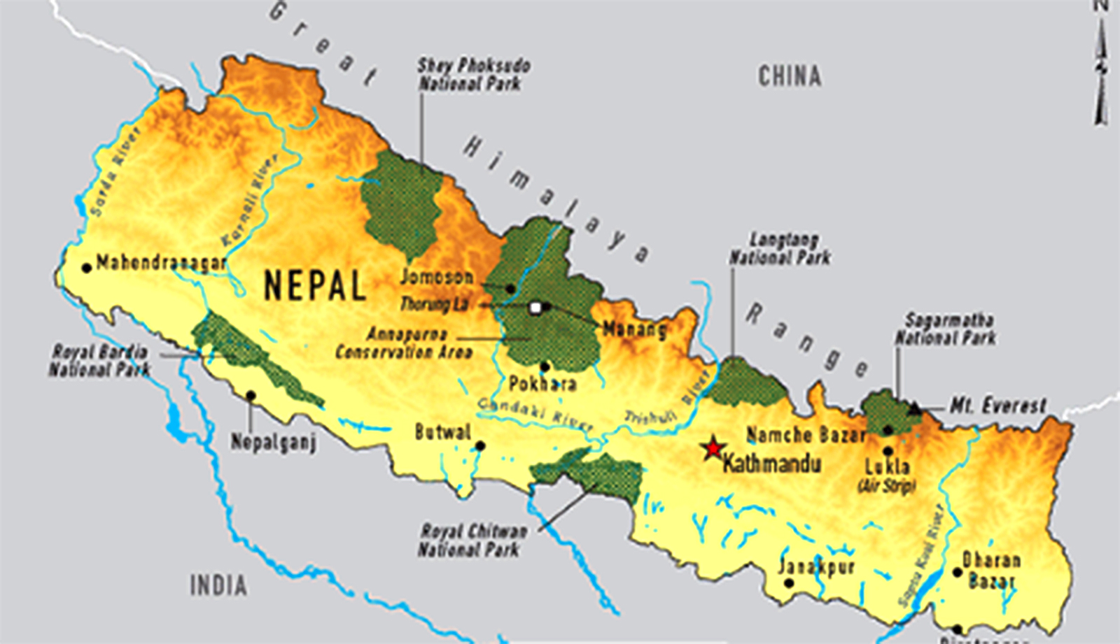 Map of Nepal showing all the national parks with Annapurna Conservation Area clearly showing a s the most significant  in Nepal